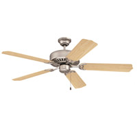 Craftmade K10262 Pro Builder 52 inch Brushed Satin Nickel with Maple Blades Ceiling Fan Kit in Custom Carved Maple