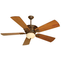 Pavilion 52 inch Aged Bronze Textured with Distressed Teak Blades Ceiling Fan With Blades Included in Solid Wood Blades, Premier