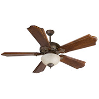 Mia 52 inch Aged Bronze/Vintage Madera with Classic Ebony Blades Ceiling Fan With Blades Included in Solid Wood Blades, Custom Carved, Aged Bronze and Vintage Madera, Tea-Stained Glass