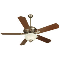 Mia 52 inch Pewter with Reversible Dark Coffee/Dark Oak Blades Ceiling Fan With Blades Included in MDF Blades, Standard, Alabaster Glass