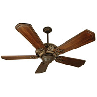 Ophelia 52 inch Aged Bronze and Vintage Madera with Walnut and Vintage Madera Blades Ceiling Fan Kit in Ophelia Walnut/Vintage Madera, Solid Wood Blades, Custom Carved, 0, Light Kit Sold Separately, Blades Included