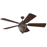 Olivier 70 inch Aged Bronze Textured with Reversible Hand-Scraped Walnut/Walnut Blades Ceiling Fan With Blades Included in Premier