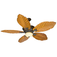 Pavilion 52 inch Aged Bronze Textured with Light Oak Philodendron Blades Ceiling Fan With Blades Included in Solid Wood Blades, Tropic Isle