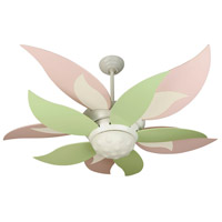 Bloom 52 inch White with Pink and Yellow and Green Blades Ceiling Fan Kit in Pink and Green, Blades Included