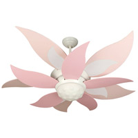 Bloom 52 inch White with Pink and White and Pink Blades Ceiling Fan Kit in Custom Carved Pink, Blades Included