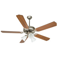 Craftmade K10405 Pro Builder 205 52 inch Brushed Satin Nickel with Walnut Blades Ceiling Fan Kit in Contractor Plus Walnut, Blades Included