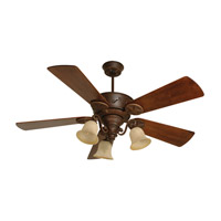 Craftmade K10408 Chaparral 54 inch Aged Bronze Textured with Hand-Scraped Walnut Blades Ceiling Fan Kit in Antique Scavo Glass Custom Carved Scraped