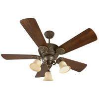 Craftmade K10408 Chaparral 54 inch Aged Bronze Textured with Hand-Scraped Walnut Blades Ceiling Fan Kit in Antique Scavo Glass, Custom Carved Scraped Walnut