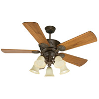 Chaparral 52 inch Aged Bronze Textured Distressed Teak Ceiling Fan With Blades Included in Solid Wood Blades, Premier, Antique Scavo Glass, Dry