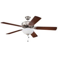 Craftmade K10428 Pro Builder 201 52 inch Brushed Satin Nickel with Cherry Blades Ceiling Fan With Blades Included in Contractor Cherry