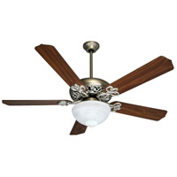 Craftmade K10438 Cecilia Unipack 52 inch Brushed Satin Nickel with Walnut Blades Ceiling Fan Kit in Alabaster Glass Contractor Plus Walnut