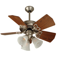 Craftmade K10439 Piccolo 30 inch Brushed Satin Nickel with Dark Oak Blades Ceiling Fan Kit in Alabaster Swirl Glass, Incandescent
