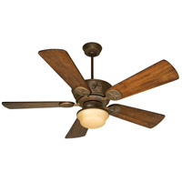 Chaparral 52 inch Aged Bronze Textured with Distressed Oak Blades Ceiling Fan With Blades Included in Solid Wood Blades, Premier, Amber Glass, Damp