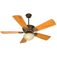 Chaparral 52 inch Aged Bronze Textured with Distressed Teak Blades Ceiling Fan With Blades Included in Solid Wood Blades, Premier, Tea-Stained Glass, Damp
