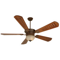 Craftmade K10515 Dc Epic 70 inch Aged Bronze Textured with Scalloped Walnut Blades Ceiling Fan Kit in Tea-Stained Glass, Custom Carved Scalloped Walnut
