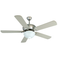 Leeward 52 inch Brushed Satin Nickel with Brushed Nickel Blades Outdoor Ceiling Fan Kit in Outdoor Plus, Alabaster Glass, Blades Included