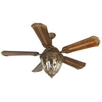 Olivier 70 inch Aged Bronze Textured with Walnut Blades Ceiling Fan With Blades Included in Chamberlain Walnut, Custom Carved