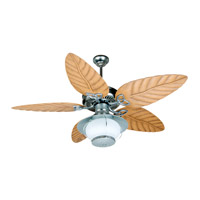 Outdoor Patio Fan 52 inch Galvanized with Light Oak Blades Outdoor Ceiling Fan With Blades Included in Outdoor Tropic, Light Kit Sold Separately