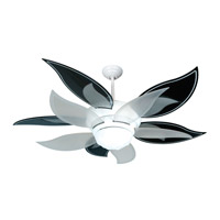 Bloom 52 inch White with Black/Silver and Translucent Blades Ceiling Fan With Blades Included in ABS Blades
