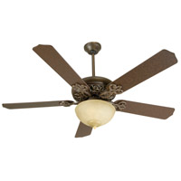 Craftmade K10617 Cecilia Unipack 52 inch Aged Bronze Textured with Aged Bronze Blades Ceiling Fan Kit in Contractor Standard, Tea-Stained Glass, Blades Included