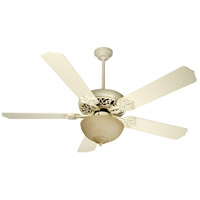 Craftmade K10618 Cecilia Unipack 52 inch Antique White Distressed with Antique White Blades Ceiling Fan Kit in Tea-Stained Glass, Contractor White