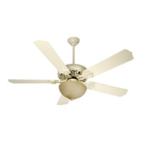 Craftmade K10618 Cecilia Unipack 52 inch Antique White Distressed with Antique White Blades Ceiling Fan Kit in Tea-Stained Glass Contractor White