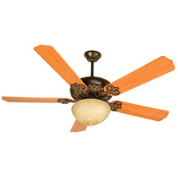 Craftmade K10619 Cecilia Unipack 52 inch Oiled Bronze Gilded with Teak Blades Ceiling Fan Kit in Contractor Standard, Tea-Stained Glass, Blades Included