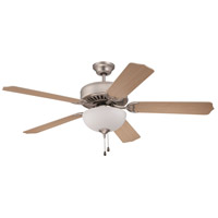 Craftmade K11072 Pro Builder 201 52 inch Brushed Satin Nickel with Walnut Blades Ceiling Fan With Blades Included in Contractor Plus Walnut