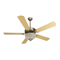Pro Builder 201 52 inch Brushed Satin Nickel with Maple Blades Ceiling Fan With Blades Included in Contractor Standard