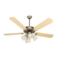 Pro Builder 203 52 inch Brushed Satin Nickel with Maple Blades Ceiling Fan With Blades Included in Contractor Standard