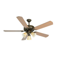 Craftmade K10639 Pro Builder 206 52 inch Aged Bronze Textured with Washed Walnut Birch Blades Ceiling Fan Kit in Contractor Standard, Blades Included