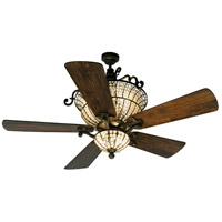Cortana 52 inch Peruvian Bronze with Hand-Scraped Walnut Blades Ceiling Fan With Blades Included in Solid Wood Blades, Premier