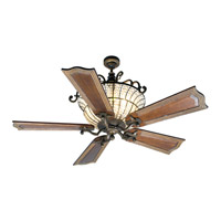 Cortana 52 inch Peruvian Bronze with Walnut Blades Ceiling Fan With Blades Included in Wellington Walnut, Solid Wood Blades, Custom Carved, 3
