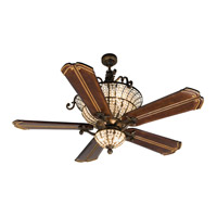 Cortana 52 inch Peruvian Bronze with Walnut Blades Ceiling Fan With Blades Included in Chamberlain Walnut, Solid Wood Blades, Custom Carved