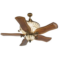 Cortana 52 inch Peruvian Bronze with Walnut Blades Ceiling Fan With Blades Included in Solid Wood Blades, Custom Carved