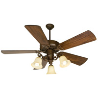 Craftmade K10674 CXL 54 inch Aged Bronze Textured with Distressed Walnut Blades Ceiling Fan Kit in Antique Scavo Glass, Premier, 0, Solid Wood Blades, Blades Included