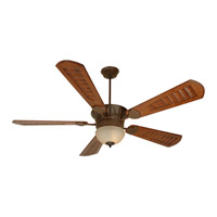 DC Epic 70 inch Aged Bronze Textured with Scalloped Walnut Blades Ceiling Fan With Blades Included in Custom Carved, Tea-Stained Glass, Damp