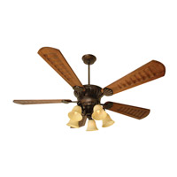 DC Epic 70 inch Oiled Bronze with Scalloped Walnut Blades Ceiling Fan Kit in Custom Carved, Antique Scavo Glass, Dry, Blades Included