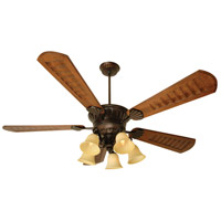 Craftmade K10685 Dc Epic 70 inch Oiled Bronze with Scalloped Walnut Blades Ceiling Fan Kit in Antique Scavo Glass, Custom Carved Scalloped Walnut