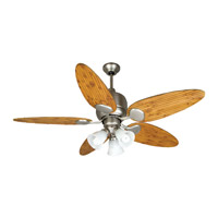 Craftmade K10707 Kona Bay 54 inch Brushed Satin Nickel with Oak Bamboo Blades Ceiling Fan Kit in Alabaster Swirl Glass, Tropic Isle, 0, Solid Wood Blades, Blades Included