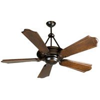 Metro 52 inch Oiled Bronze Classic Ebony Ceiling Fan With Blades Included in Solid Wood Blades, Custom Carved, 0, Light Kit Sold Separately