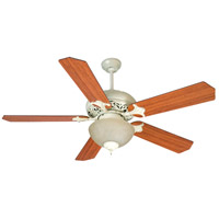Mia 52 inch Antique White Distressed with Reversible Cherry/Rosewood Blades Ceiling Fan With Blades Included in MDF Blades, Standard, Tea-Stained Glass