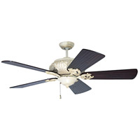 Craftmade K10726 Ophelia 54 inch Antique White Distressed with Hand-Scraped Walnut Blades Ceiling Fan Kit in Light Kit Sold Separately, Premier, 0, Solid Wood Blades, Blades Included