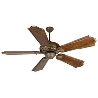 Outdoor Mia 52 inch Aged Bronze/Vintage Madera with Classic Ebony Blades Outdoor Ceiling Fan With Blades Included in Solid Wood Blades, Custom Carved