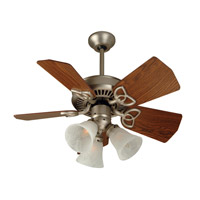 Piccolo 30 inch Brushed Satin Nickel with Dark Oak Blades Ceiling Fan With Blades Included in Alabaster Swirl Glass