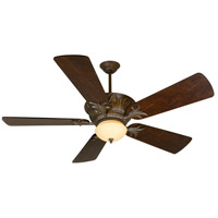 Pavilion 52 inch Aged Bronze Textured with Distressed Walnut Blades Ceiling Fan With Blades Included in Solid Wood Blades, Premier
