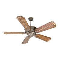 Riata 52 inch Aged Bronze Textured with Walnut Blades Ceiling Fan With Blades Included in Chamberlain Walnut, Custom Carved, Light Kit Sold Separately