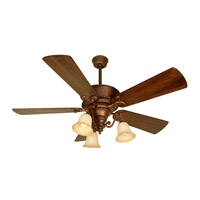 Riata 52 inch Burnt Sienna with Distressed Walnut Blades Ceiling Fan With Blades Included in Premier, Antique Scavo Glass