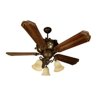 Toscana 52 inch Peruvian Bronze with Walnut Blades Ceiling Fan With Blades Included in Chamberlain Walnut, Solid Wood Blades, Custom Carved, Amber Frost Glass