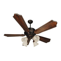 Craftmade K10773 Townsend 56 inch Oiled Bronze with Classic Ebony Blades Ceiling Fan Kit in Alabaster Swirl Glass, Custom Carved, 0, Blades Included
